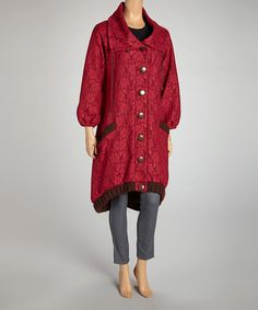 Take a look at this Wine Wide Collar Jacket by Coline USA on #zulily today! $130 !!