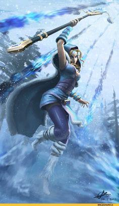 f Druid Med Armor Cloak Staff Conifer Forest Hills winter snow Crystal Maiden by xxxhaozhuangxxx lg Fantasy Heroes, Fantasy Art Women, Dark Fantasy Art, Fantasy Girl, Fantasy Characters, Dnd Characters, Fantasy Artwork, Fantasy Female Warrior, Female Art