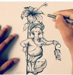 No photo description available. Shiva Art, Ganesha Art, Krishna Art, Ganesha Tattoo, Sri Ganesh, Abstract Pencil Drawings, Art Drawings Sketches, Pencil Sketching, Abstract Paintings