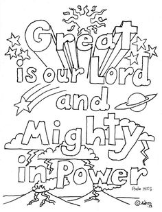 Coloring Pages for Kids by Mr. Adron: Great Is Our Lord, Psalm 147:5 Print and Color Page