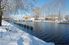 A snowy Vechtbridge Holland, Amsterdam, River, City, Netherlands, The Netherlands, Rivers, Cities