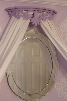 Lavender and white bed canopy