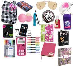 Designer Clothes, Shoes & Bags for Women Middle School Hacks, School Study Tips, School Sets, School Daze, School Backpack Organization, Back To School Supplies List, Backpack Essentials, College Checklist, Kids Lunch For School