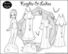 Three Marisole Monday Paper Dolls in Black and White