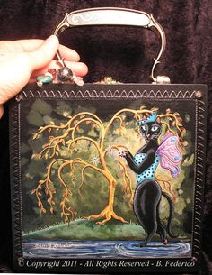 ee5972117e32 Cat Fairy Hand Painted CIGAR BOX PURSE by federicofantasyart