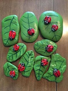 ladybug rocks on leaf rocks #steinebemalenkinder ladybug rocks on leaf rocks