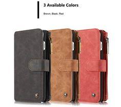 CaseMe 007 iPhone 7 Plus Retro Flannelette Leather Detachable 2 in 1 Multifunctional Wallet Case Red