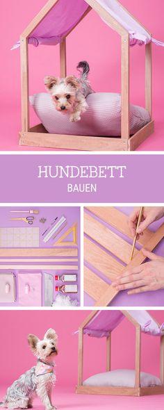 DIY-Anleitung für ein #Hundehaus im Himmelbett-Design, #Hundebett bauen / diy for a wooden dog bed via DaWanda.com