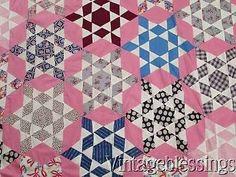 Beautiful-Fabrics-Vintage-1930s-Starburst-Star-Pink-QUILT-TOP-84x57-Excellent