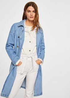 Mango Double Breasted Denim Trench - S-M Denim Outfits, Trendy Outfits, Mantel Trenchcoat, Beste Jeans, Summer Denim, Mode Jeans, Trends, Denim Fashion, Women's Fashion