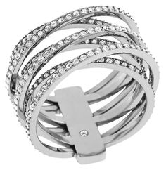 72ec9cb7b66 Micheal Kors MKJ4423 Silver Tone Intertwined Pave Criss-Cross Ring Size 7  NWT
