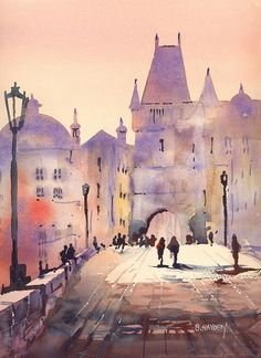 Prague - Charles Bridge Painting by Brigitte Hayden - Prague . in 2019 Watercolor Class, Watercolor Art, Bridge Painting, Pastel Landscape, Watercolor Architecture, Watercolor Texture, Castle Art, Watercolor Landscape, Water Painting