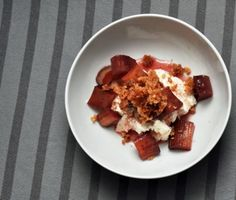 Port-Poached Rhubarb with Ricotta and Walnut Crumble---delicious! (I seldom see poached rhubarb...)