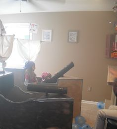 Made pirate boats out of cardboard boxes...made cannons out of cardboard tubing they actually fired newspaper cannon balls the kids loved it...gave them targets to shoot hangging from the ceiling