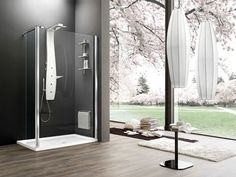 Corner tempered glass shower cabin with tray with sliding door OTTO PREMIUM Otto Collection by ARBLU