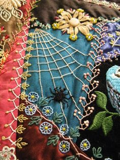 """Crazy Quilt Spider Web embroidery detail. Arizona Quilters Guild show. """"All Creatures Large and Small"""" by Gerlinde Hruzek"""