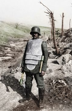 """A German soldier wearing """"lobster"""" armour."""