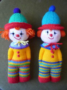 Knitting Pattern for Clown Doll Toy # 20 for sale online Knitted Doll Patterns, Animal Knitting Patterns, Knitted Dolls, Crochet Dolls, Crochet Patterns, Hat Crochet, Knitted Headband, Crochet Baby, Knitted Teddy Bear
