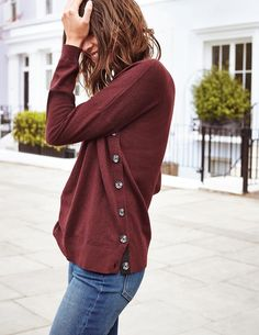 SHOP A/W 16: Burgundy is big this season and suits all colourings. Love the side button detail on this cosy sweater.