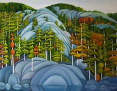 Deb Gibson, OSA Lake Kilarney, oil on canvas, Canadian Painters, Canadian Artists, Landscape Art, Landscape Paintings, Landscapes, Cottage Art, Folk, Artist Portfolio, Art For Art Sake