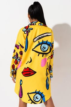 Printed, oversize shirt dress by AKIRA. Pop Art Fashion, Diy Fashion, Fashion Design, Fashion Trends, Custom Clothes, Diy Clothes, Mini Shirt Dress, Dress Up, High Neck Dress