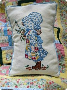 Holly Hobbie embroidered pillow & patchwork quilt