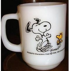 Snoopy coffee mug...my Aunt Judy had one similar to this and I always think about her drinking her coffee from it! I miss her and love her always...