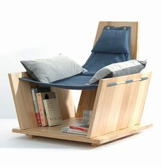want some creative DIY bookshelf chair inspirations? then you must explore these 5 DIY Bookshelf Chair Plans that are looking divine and allows amazing storage cubbies Built In Bookcase, Built In Storage, Bookshelves, Book Storage, Storage Ideas, Wood Furniture, Furniture Design, Furniture Stores, Cheap Furniture