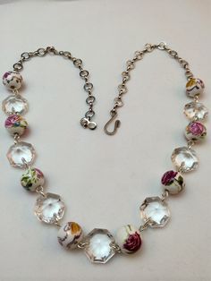 Silver Flower Flora Vintage Chandelier Crystal Purple White Yellow Chain Necklace on Etsy, $40.00