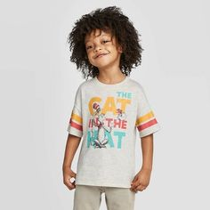 Seuss Cat in the Hat T-Shirt - Heather Oatmeal Boy's, Beige The Kat, Red Bow Tie, Free Hugs, Free Girl, Toys For Girls, Girl Toys, Toddler Boys, Little Boys, Short Sleeve Tee