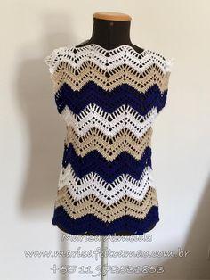 Débardeurs Au Crochet, Crochet Jacket, Crochet Blouse, Love Crochet, Crochet Stitches, Pinterest Crochet, Crochet Summer Tops, Crochet Poncho Patterns, Crochet Clothes