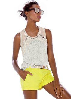 J.Crew linen lace trim tank- yellow shorts