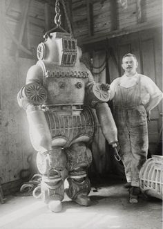 Old underwater diving suit.  Not quite robot but 100% awesome.