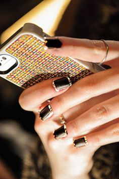 Matte black + shiny silver nails