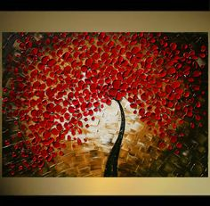 Modern Handpainted Acrylic  Impasto textured Landscape  Red  Gold  Tree Painting MADE2ORDER.