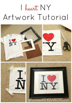 I Heart NY Artwork Tutorial for teen girl gallery wall #homedecor #art #gallerywall