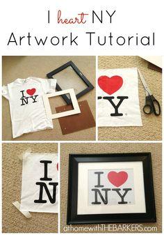 grey suits, diy tshirt crafts, artwork tutori, heart ny, gallery walls, diy projects crafts teen, ny artwork, art tutorials, craft tshirt