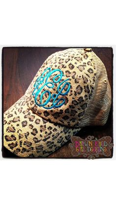 f2da9b59f22 Shabby Leopard Print Trucker Hat with adjustable snap closure in the back.  monogram in pink.