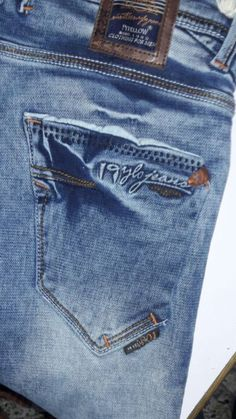 Embose rubber Denim Jeans Men, Jeans Pants, Teen Shorts, Armani Jeans Men, Types Of Jeans, Patterned Jeans, Denim Branding, Jeans Style, Mens Boardshorts