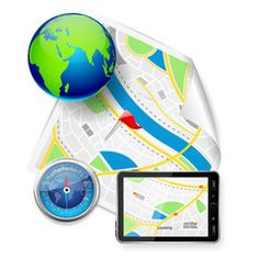vector illustration of compass and GPS device on road map