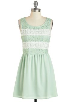 Key Lime Cheesecake Dress - Mint, Daytime Party, A-line, Tank top (2 thick straps), Short, White, Crochet, Lace, Scoop, Pastel, Spring