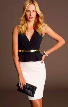 flattering black and white dress with a metallic belt   Fall 2013 Style #MillionDollarShoppersHeather
