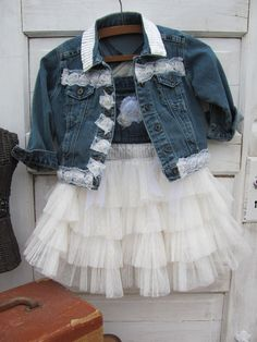 Denim and lace upcycled jacket size 4-5 wedding, shabby chic,country,toddler…