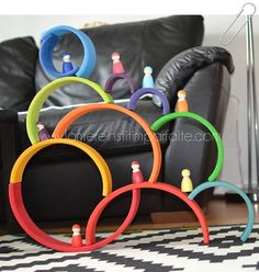 Creative sculptural design using Grimm's beautiful wooden 12-Piece Rainbow toy! #GrimmsToys