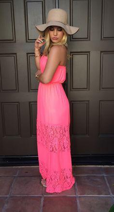 Beach Bum Lace Maxi Dress - Hot Pink #maxi