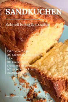 Sand cake succulent and easy - Kuchen Rezepte einfach - Sand Cake, Easy Cookie Recipes, Cake Recipes, Dessert Recipes, New Cake, French Toast Casserole, Food Cakes, Holiday Desserts, Bakery