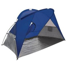 Picnic Time, Cove Sun Shelter in Blue Grey and Silver, at The Home Depot - Tablet Survival Prepping, Survival Skills, Survival Tent, Outdoor Fun, Outdoor Gear, Outdoor Entertaining, Pop Up Beach Tent, Portable Tent, 4 Person Tent