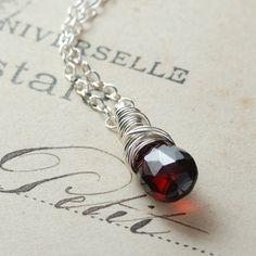Garnet Gemstone Necklace Sterling Silver Wire Wrapped Garnet Jewelry January Birthstone January Birthday Red Garnet Pendant