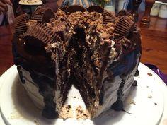 Chocolate Peanut Butter Layer Cake Chocolate Peanuts, Chocolate Peanut Butter, Cake, Desserts, Food, Tailgate Desserts, Pie, Kuchen, Dessert