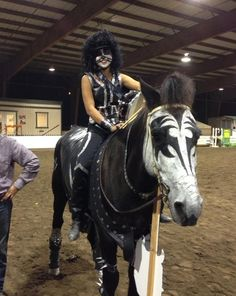 Horse and rider dressed like KISS